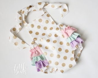 Gold/White dot with Pastel color ruffle Sunsuit Romper / Size 0-3m, 3-6m, 6-12m, 12-18m and 18-24m