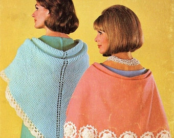 Vintage Crochet Pattern - Cape with flowers - Sewn Cape with flowers in Crochet