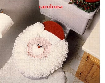Vintage Crochet Pattern to make  Santa Claus Christmas Lavatory Toilet Seat Cover - PDF for Immediate Digital Delivery