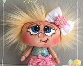 "OOAK Artist Miniature Cloth Pocket EASTER Rag Doll ""Blossom""  5"" high!"