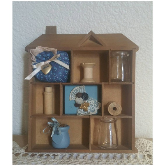 Small Wood COLLECTIBLES DISPLAY, Shelf for Miniatures, Wall Decor ...