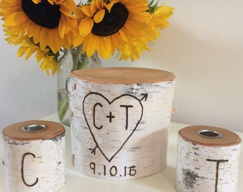 Rustic Unity Candle Wedding Set Birch Tree for Ceremony