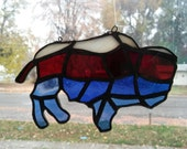 Handcrafted Stained Glass Buffalo Bill Wyoming Suncatcher