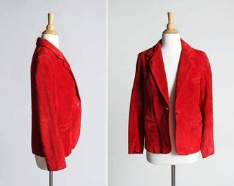 SALE Vintage 1970's Red Suede Leather Blazer - Jacket Coat Outerwear Leather 70s Retro Country Southwest - Size Medium or Large