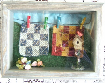 Miniature Quilts in Shadow Box (Item # 128)