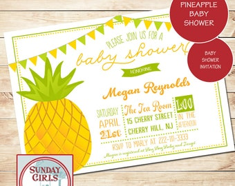 Pineapple Invitation, Baby Shower Invitation, Aloha Baby Shower, Gender Neutral Baby Shower