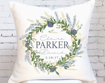 Wedding Gift Cotton Anniversary Gift Personalized Family Name Pillow Cover