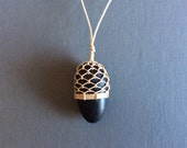 Netted Basalt Beach Stone Necklace