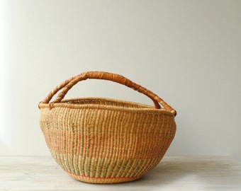 Vintage Market Tote Bag, African Bolga Basket, Farmer's Market Bag, Straw Basket