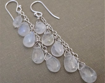 White gemstone earrings, white and silver earrings, gemstone dangle earrings, rainbow moonstone earrings, moonstone sterling silver earrings