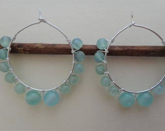 Aqua earrings beaded hoop earrings wire wrapped hoops aqua gemstone hoops aqua chalcedony hoop earrings aqua sterling silver hoops handmade