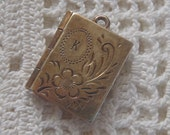 Vintage Book Locket Sterling Silver K Monogram