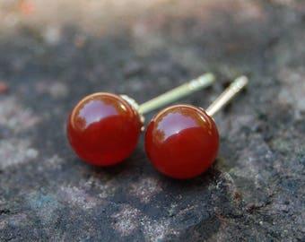 Herra - Carnelian Gemstone Stud Earrings, Earrings, gemstone earrings, stud earrings, carnelian, gift idea, for her, woman, youth, birthday,