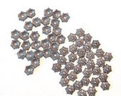 Silvery Pink Bead Caps 60 Flower Findings for jewelry making supplies destash