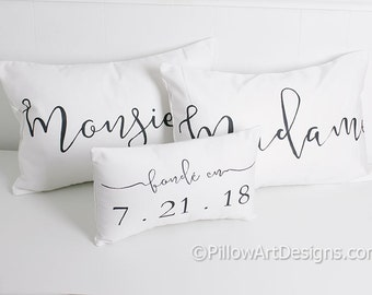 French Madame Monsieur Mr Mrs His Hers Black White 12 X 18 Lumbar Pillow Covers with Fonde En Date Mini Pillow Made in Canada