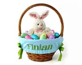 Personalized Easter Basket Liner, Blue Tiny Dots, Includes Embroidered Name, Custom Basket Liner - You choose font, thread, and ribbons