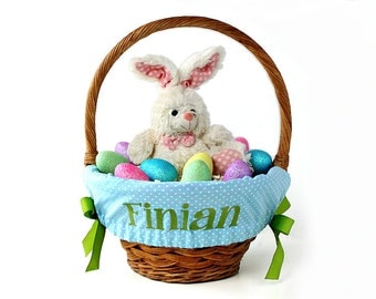 Boy easter basket etsy personalized easter basket liner blue tiny dots basket not included personalized with name negle Image collections
