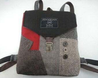 Backpack, Recycled Backpack  bag, Mens Backpack,  Womens backpack ,Softsided Bag, Recycled Mens Suit Coat Bag, Travel Bag