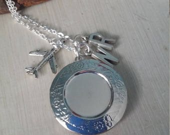 Long distance love silver locket with custom initial charms