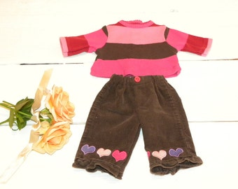 Brown Corduroy Pants and Striped Tshirt - 14 to 15 inch doll clothes