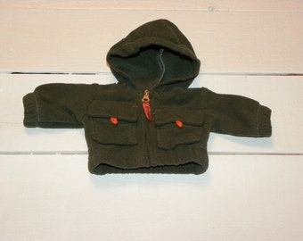 Moss Green Hooded Jacket - 14 - 15 inch boy doll clothes