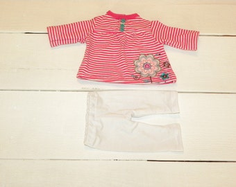 Hot Pink and White Striped Dress and White Leggings - 14 - 15 inch doll clothes
