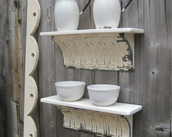 Two Antique ceiling tin wall shelves off white. Old Architectural salvage. Bathroom kitchen shelf. Shabby Rustic Old Chippy Paint