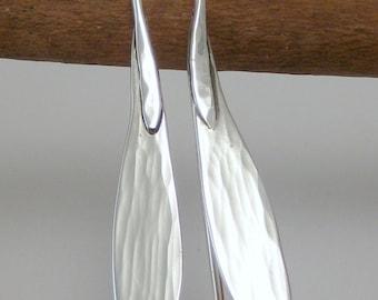 Sterling Silver Ash Tree Seed Earrings - Hammered Silver Earrings - Metalwork Earrings - Metalsmith Jewelry - Botanical Jewelry - Minimalist