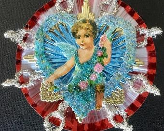 Vintage Look Valentine Cupid Ornament-Scrap Cupid,Spun Glass,German Tinsel,German Dresdens,Vintage Reflector,Vintage Glass Beads