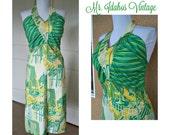 Vintage 70s Summer Halter dress - fun in the sun - hippie dress, boho dress -vintage dress