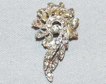 Vintage / Patent Number / Dress Clip / Clear / Bridal / Wedding / Rhinestone / Sparkling / old jewelry