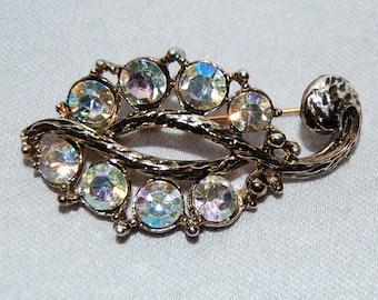 Vintage / Brooch / Rhinestones / Aurora Borealis / Large / old jewelry / jewellery