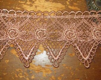 Hand Dyed Venise Lace  -Emma's Rose-  Vintage Plum Mauve