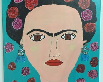 flower Frida , love  vibrant original acrylic painting  16x 20  unframed.  Gift Magical