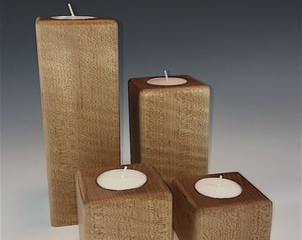 Reclaimed Figured Maple Candle Set