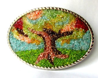 Tree Belt Buckle Art, Stained Glass, Mirco Mosaic Tree, Large Silver Oval, Colorful Fall Tree, One of a Kind, Tree of Life, Eco Friendly