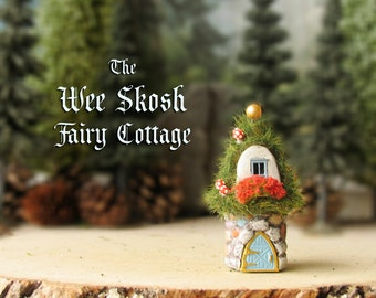 The Wee Skosh Fairy House - Tiny Polymer Clay Woodland House with Grass Covered Roof, Flower Box, Fairy Mushrooms and Arched Entry Door