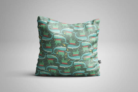 Whales & Fishing Boats Cushion