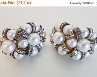ON SALE Beautiful Vintage 1970's Large Rhinestone & Pearl Earrings