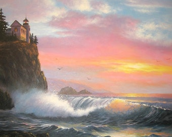 Seascape lighthouse Oil Painting 20X30, original seascape painting vertical format, ocean paintings, sea paintings, Vickie Wade Art