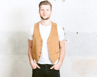 Vintage Corduroy Vest .  Men's Indiana Jones Style Beige Smart Gilet Waistcoat 1980s Sleeveless Jacket . size Medium M