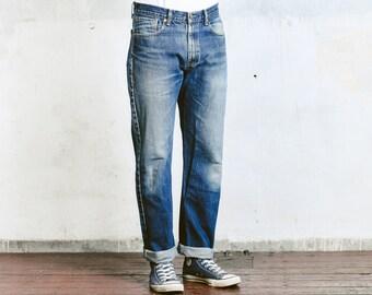 "Vintage Distressed Levis Jeans . Levi 751 02 Size 34"" Jeans Ripped Blue Boyfriend Jeans W34 Dark Wash Stonewashed Denim Blue Jeans 80s Jeans"