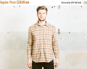 WEEKEND SALE . Men's Plaid Thick Shirt . Vintage 90s FLEECE Jacket Beige Check Print Button Down Shirt Boyfriend Gift for Him . size M Mediu