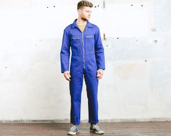 Vintage 80s Work OVERALLS . Men's Jumpsuit Workwear 1970s Blue Garage Car Mechanic Full Cover Super Mario Dungarees Outerwear . size Small