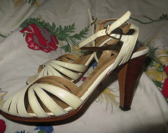 vtg 70s  strappy  Wood Heel high heels  Made In Brazil  Women's Size 5.5  M   nine west