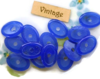 Vintage Cabochons, Sapphire cabochons,Glass cabochons,Oval 13x9mm,Capri Blue cabochons,jewelry making supplies,NOS Flat Back (696D)