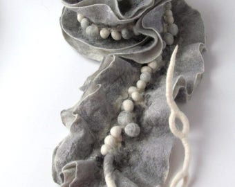Felted scarf Unique Grey scarf ruffle collar, wet felted ruffle scarf ,  bubble scarf textile art scarf White Black grey collar by Galafilc