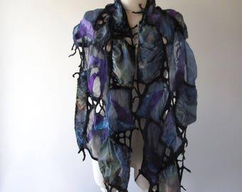 Nuno Felted scarf net, Geometric scarf  silk scarf , Blue Grey Black women felt scarf, women silk scarf Original scarf by Galafilc