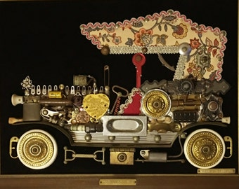 Unique Wall Art,  1914 Cadillac 3D Metal, Large, Framed, 5 Lbs., OOAK, Vintage 1978