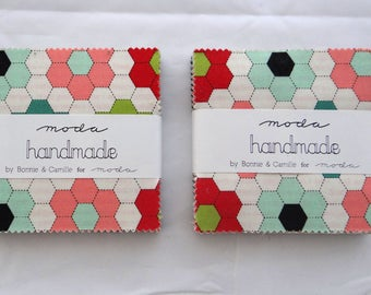 HANDMADE Bonnie & Camille (2) Moda Treats 3.5 in squares precuts sewing quilting maker fabric aqua red black coral pink